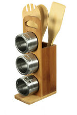 Bamboo Wood Utensil Holder with 3 Utensils and 3 Magnetic Spice Pots