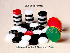 Carrom Board Coins Strikers Disk Plastic Super Quality, Set of 21 smooth play