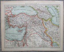 Detailed Chromolithographic Map Turkey Cyprus Middle East - 1890