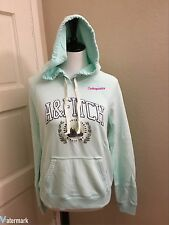 NWT Abercrombie & Fitch Women's LOGO GRAPHIC HOODIE, Mint Green, Medium