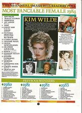 KIM WILDE 'poll winner 1984' magazine PHOTO / Pin UP/Poster 11x8 inches