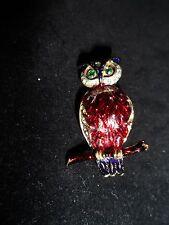 Wise Owl Statement Pin Brooch Rhinestone Crystals Genuine Vintage Spring