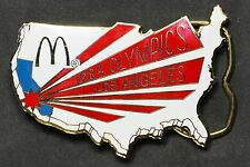 Vintage McDonalds 1984 Los Angles USA Olympic Belt Buckle Enamel Red White Blue