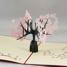 3D Pop Up Greeting Card Sakura Cherry Valentines Birthday Mother's Day New