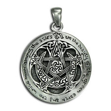 Sterling Silver Large Moon Pentacle Pentagram Pendant Dryad Design Wiccan Pagan