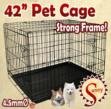 """42"""" XLarge Size Collapsible Pet Puppy Dog Cage Metal Crate Kennel Rabbit House"""