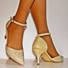 NEW Ladies Diamante Ankle Strap Party Prom Low Mid Heel Court Shoe Size 24-26