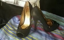 "Dorothy Perkins High Heel Shoes Court Shoes In Black Jittery 6"" Heels Size 4 UK"