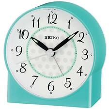 Seiko QHE136L Lumibrite Sweep Second Hand Beep Alarm Clock 80x78x40mm Blue - New