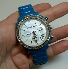 Authentic MICHAEL KORS Turquoise Blue Crystal Bezel Watch MK5121 - VERY RARE
