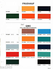 1965 FRUEHAUF / GMC TRUCK Color Chip Paint Sample Brochure/Chart: DuPont