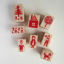 8 piece Little Red Riding Hood rubber stamp set collection with ink kawaii cute