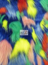TRIBAL MULTI COLOR COSTUME COAT FAUX FUR FABRIC - Blue - BY THE YARD BOOTS RUGS