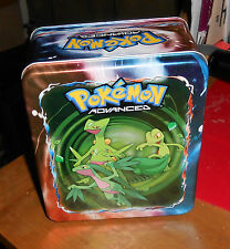 Lot of Pokemon Cards and Advanced Tin, w/game pieces & booklet 1995-2006