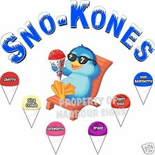 """Sno-Kones Flavors Decal 14"""" Snow Cones Shaved Ice Concession Cart Food Truck"""