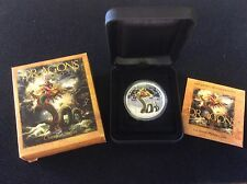 tuvalu $1 dragons of legend, silver proof 5 coins set.