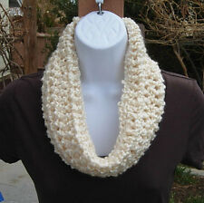 SUMMER COWL SCARF Solid Light Cream White Infinity Loop Crochet Knit Neck Warmer