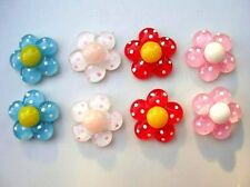 20 Daisy Flower Polka Dot Resin Flatback Button/scrapbooking/hair bow/Craft B108