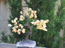 Large Citrine Crystal Bonsai Gemstone Tree - On Raw Amethyst Crystal Base