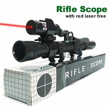 4X20 Air Rifle SNIPER Optics Crossbow Scope +Red Laser Sight +Mount Hunting Set