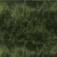 Forest Trees Evergreen Green on Black cotton quilt fabric by Blank BTY