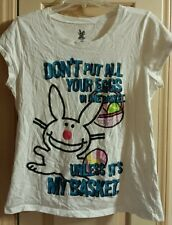 Its Happy Bunny Don't Put All Your Eggs In One Basket Juniors 2XL XXL T-Shirt
