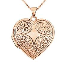 100% 14K Rose Gold Heart Shape Locket with Vintage Inspired Scroll Detail