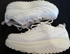 Skechers Shape-Ups Metabolize White Leather Fitness Sneakers Shoes Women's 9.5