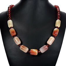 Natural Carnelian & Fire Crystal Necklace Semi-Precious Gemstone Bead Jewellery