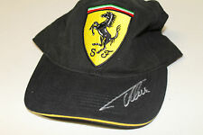 FERNANDO ALONSO HAND SIGNED BLACK FERRARI CAP UNFRAMED + PHOTO PROOF & C.O.A