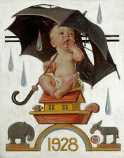 Leyendecker New Years Eve Baby Beginning To Rain Print 11 x 14  #3834