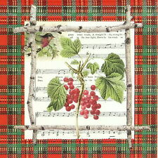4x Carta Singola Tavola Festa Tovaglioli per Decoupage Decopatch Bacche Di Natale
