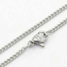 """10pcs 304 Stainless Steel Curb Chain Necklaces with Lobster Claw Clasps 19.7"""""""