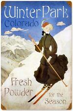 Vintage Ski Winter Park Colorado Metal Sign Tourism Advertising Travel Decor
