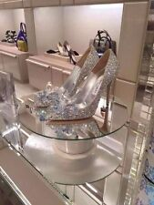 Silver Cinderella Rhinestone Glass Slipper Wedding Dress High Heels Prom Shoes