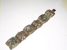 Vintage Mid-Century Mexican Sterling Silver Abalone Bracelet