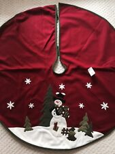 48 In Tree Skirt Christmas Snowman  Evergreen Tree Snowflakes Red Green white
