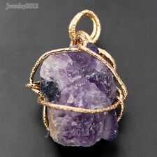 Handmade Natural Gemstone Wire Wrapped Gold Freeform Pendant Beads Diy Jewelry