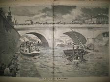 NAUFRAGE EN SEINE PONT NOTRE-DAME CHALAND REMORQUEUR MARINIERS GRAVURES 1895