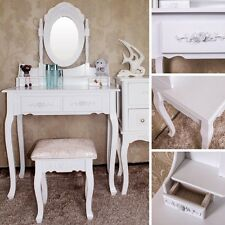 White Dressing Table With Vanity Mirror / Stool Vintage Makeup Table