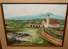 CALIFORNIA MISSION ORIGINAL OIL ON CANVAS LANDSCAPE PAINTING UNSIGNED