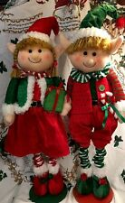 Boy Girl Elf  Extendable Legs Elf Greeters Window Porch Christmas Tree Decor S/2