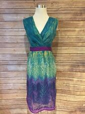 Jonathan Martin Cocktail Party Dress Size 6 Peacock Purple Green Woman
