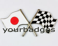 Émail chrome drapeau japonais & chequered flag crossing voiture badge japon mazda