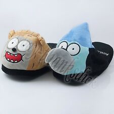 Cartoon Regular Show Mordecai Rigby Cosplay Soft Plush Slipper Slippers New