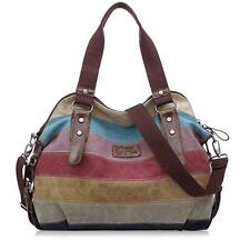 Vintage Retro Women Color Stitching canvas weekend bag lightweight Tote handbag