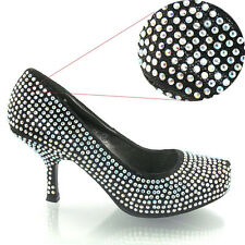WOMENS GLITTER DIAMANTE KITTEN MID PLATFORM BRIDAL WEDDING PROM PARTY SHOE SIZE