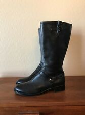 ECCO Black Leather Harness & Buckle Equestrian Boots Woman's Size 42 EU 11-11.5