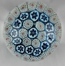 Murano Millefiori Paperweight Blue & White Canes Green & Gold Flecked Ground