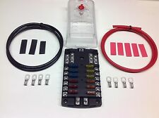 12-Way Blade Fuse box + negative bus bar with Cables Terminals + Mixed Fuses